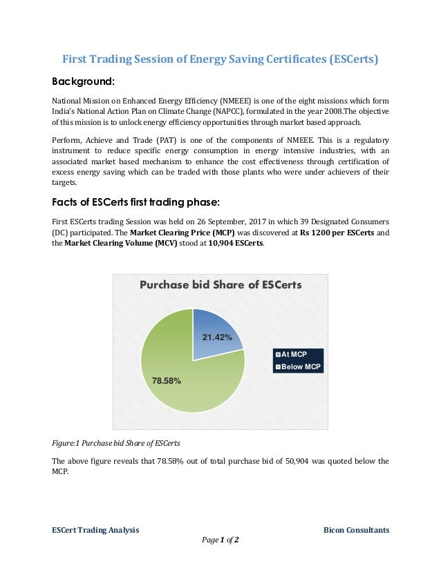 ESCert Trading Analysis Bicon Consultants Page 1 of 2 First Trading Session of Energy Saving Certificates (ESCerts) Backgr...