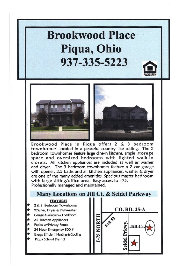 Brookwood Place'                 Piqua, Ohio                 937-335-5223         Brookwood        Place in Piqua offers 2...