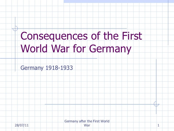 Consequences of the First World War for Germany Germany 1918-1933 28/07/11 Germany after the First World War