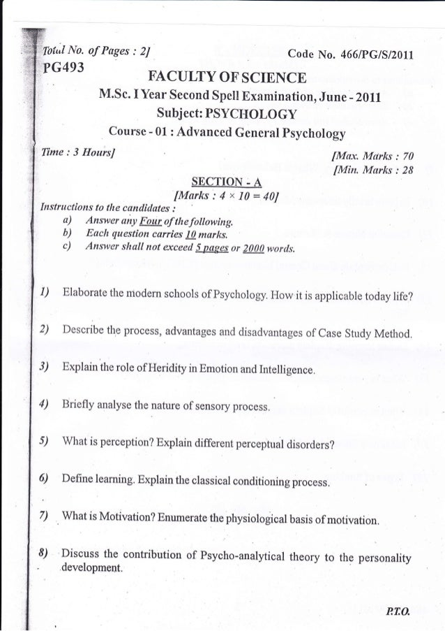 first year paper psychology