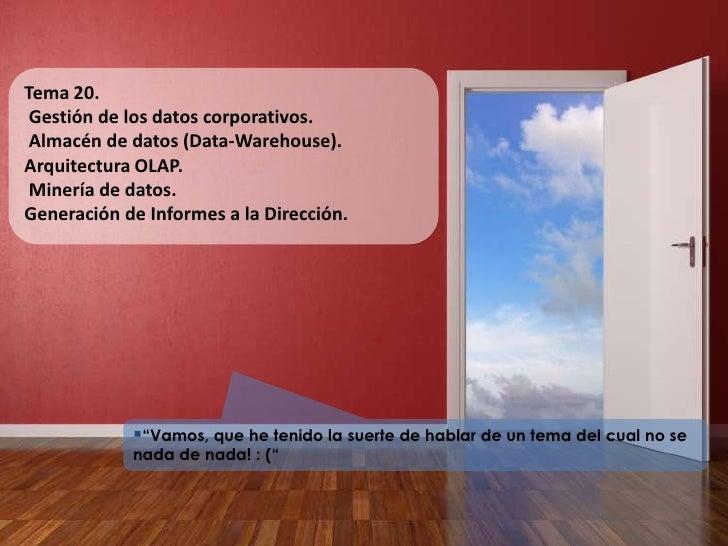 Tema 20.<br /> Gestión de los datos corporativos.<br /> Almacén de datos (Data-Warehouse). <br />Arquitectura OLAP.<br /> ...