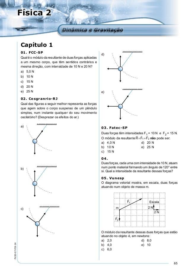 65 PV2D-07-FIS-24 Física 2 Dinâmica e GravitaçãoDinâmica e Gravitação Capítulo 1 d) e) 03. Fatec-SP Duas forças têm intens...