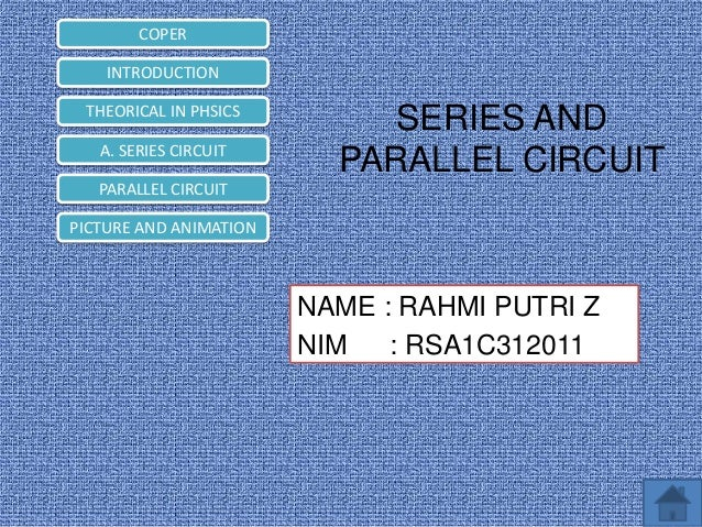 COPER INTRODUCTION THEORICAL IN PHSICS A. SERIES CIRCUIT  SERIES AND PARALLEL CIRCUIT  PARALLEL CIRCUIT PICTURE AND ANIMAT...