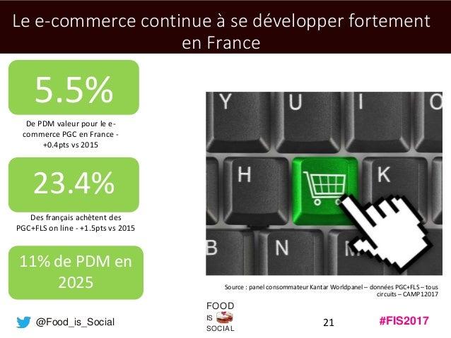#FIS2017IS SOCIAL FOOD @Food_is_Social 21 Le e-commerce continue à se développer fortement en France Source : panel consom...