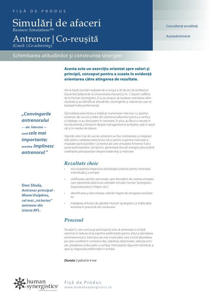 F I Ş Ă   D E    P R O D U S   Simulări de afaceri Business Simulations™                                                  ...