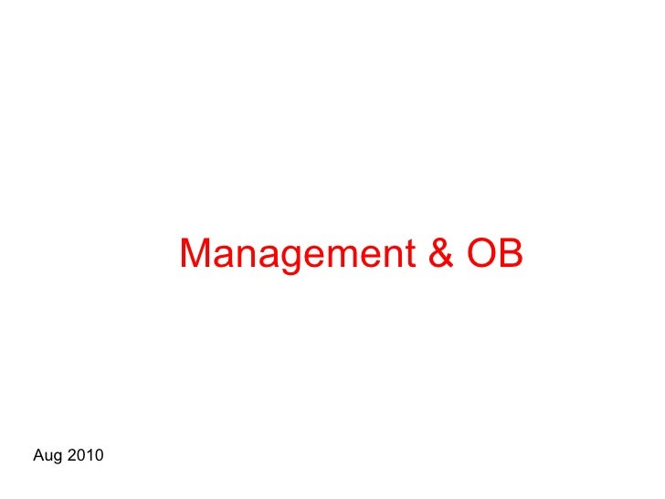 Management & OB Aug 2010