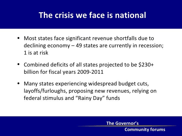 The crisis we face is national <ul><li>Most states face significant revenue shortfalls due to declining economy – 49 state...