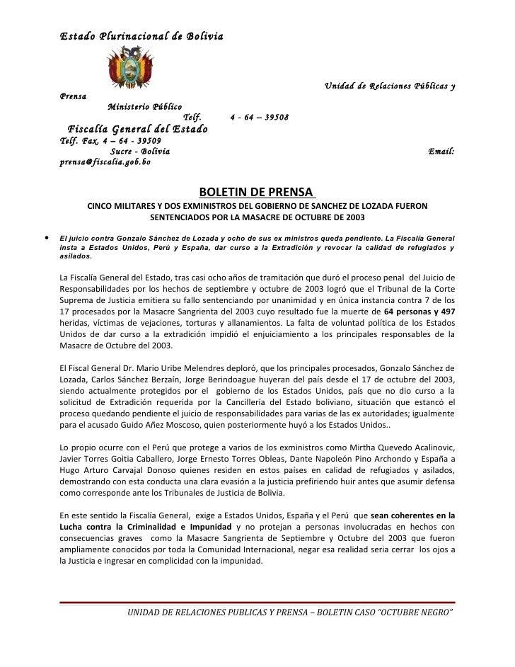 Estado Plurinacional de Bolivia                                                                          Unidad de Relacio...