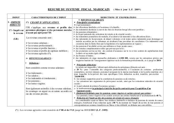 RESUME DU SYSTEME FISCAL MAROCAIN                                          ( Mise à jour L.F. 2009 )   IMPOT             C...