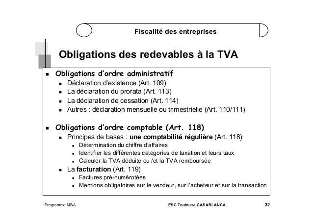 Fiscalité des entreprises  Obligations des redevables à la TVA   Obligations d'ordre administratif        Décl...
