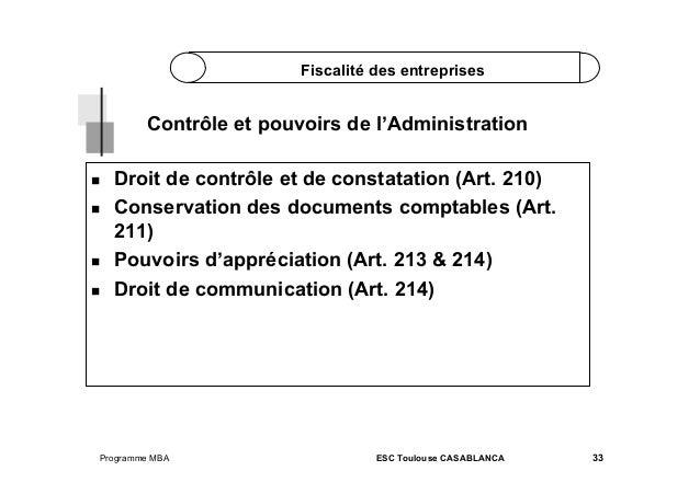 Fiscalité des entreprises  Contrôle et pouvoirs de l'Administration       Droit de contrôle et de constatation (Ar...