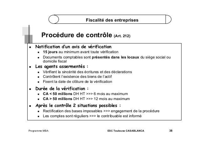 Fiscalité des entreprises  Procédure de contrôle (Art. 212)   Notification d'un avis de vérification      Les agen...