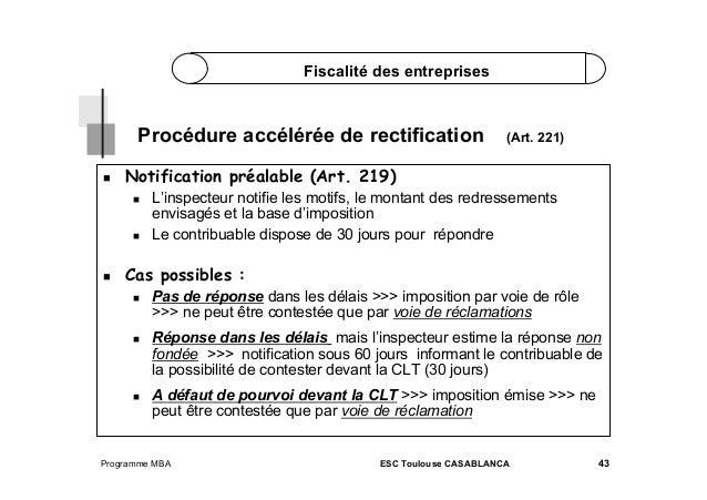 Fiscalité des entreprises  Procédure accélérée de rectification   Notification préalable (Art. 219)       (Art. 22...