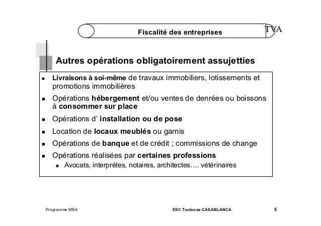 Fiscalité des entreprises  TVA  Autres opérations obligatoirement assujetties   Livraisons à soi-même de travaux immobil...
