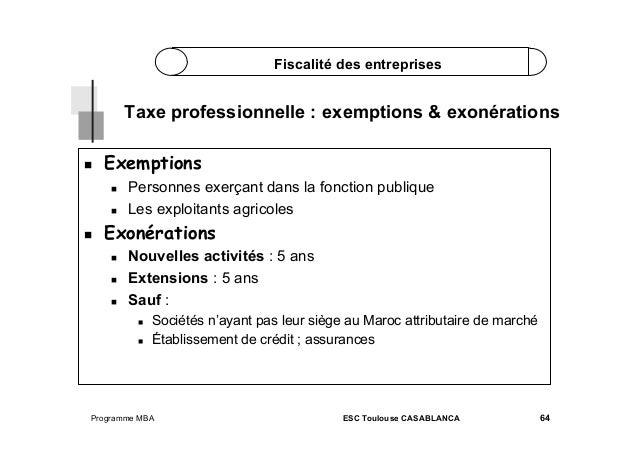 Fiscalité des entreprises  Taxe professionnelle : exemptions & exonérations   Exemptions      Personnes exerçant d...