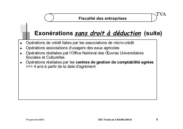 Fiscalité des entreprises  TVA  Exonérations sans droit à déduction (suite)       Opérations de crédit faites par ...