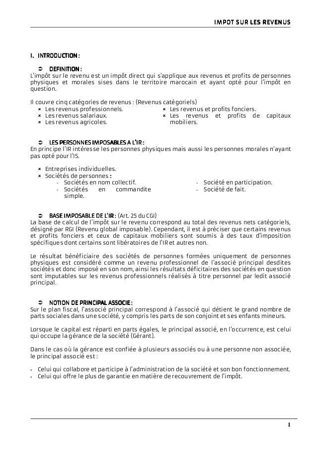 Fiscalite Marocaine Resume Ir Et Is