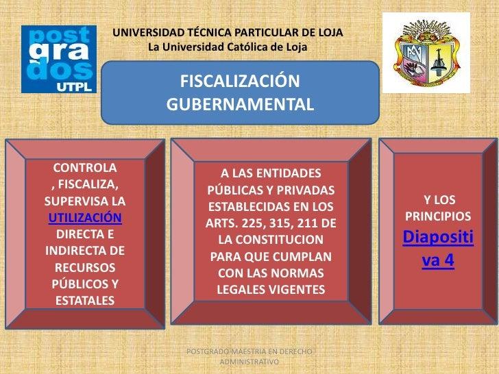 UNIVERSIDAD TÉCNICA PARTICULAR DE LOJA               La Universidad Católica de Loja                   FISCALIZACIÓN      ...