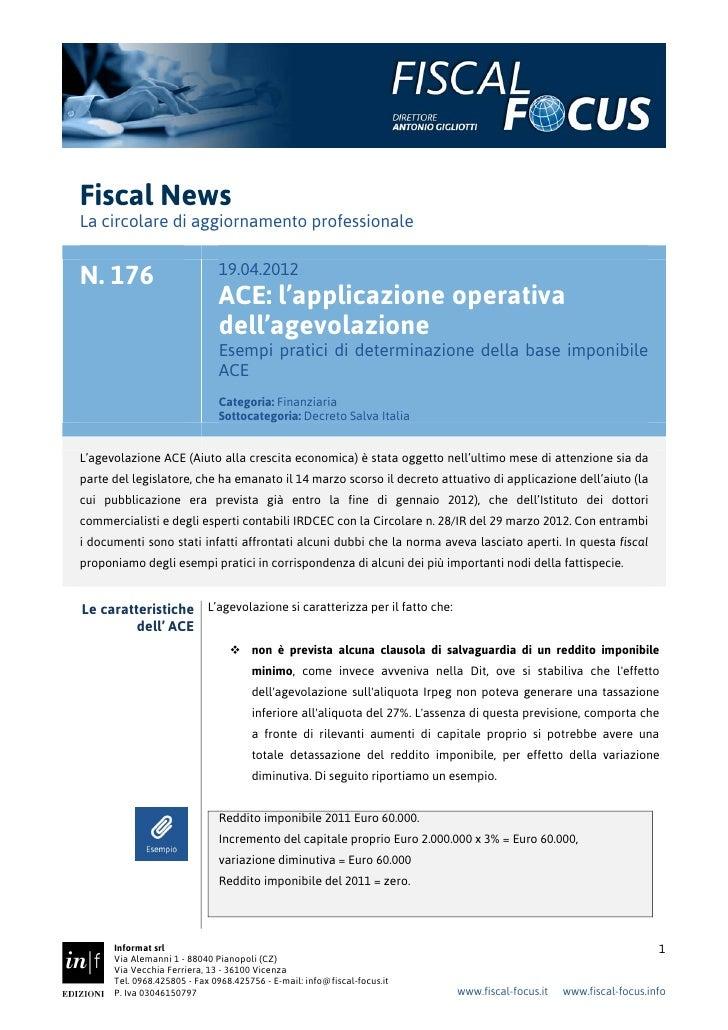 Fiscal NewsLa circolare di aggiornamento professionale                              19.04.2012N. 176                      ...