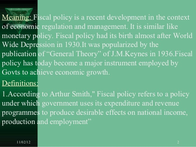Fiscal policy Slide 2