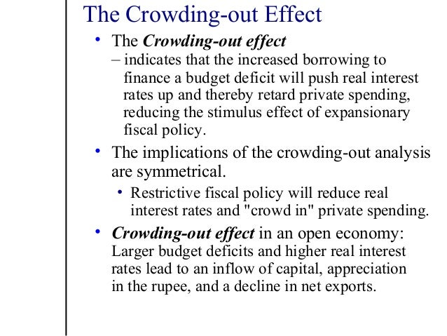 effects of crowding out Crowding-out effect (transcript) budget deficit crowds out investment gdp in a closed economy with no foreign trade, the gross domestic product (gdp) includes consumption (c), investment (i) and government purchases (g) saving with taxes if we subtract consumption (c) and government spending (g) from gdp, what.