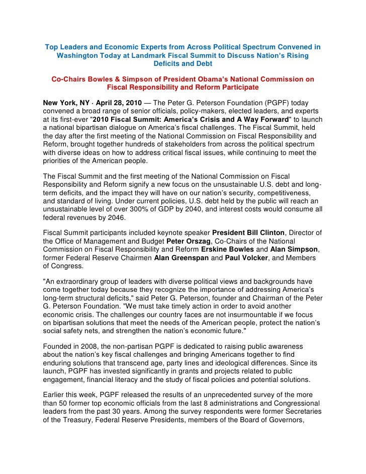 Fiscal Summit Press Release