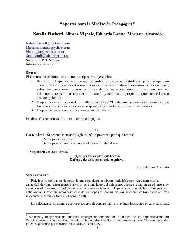 "1""Aportes para la Mediación Pedagógica""Natalia Fischetti, Silvana Vignale, Eduardo Latino, Mariana AlvaradoNataliafischett..."
