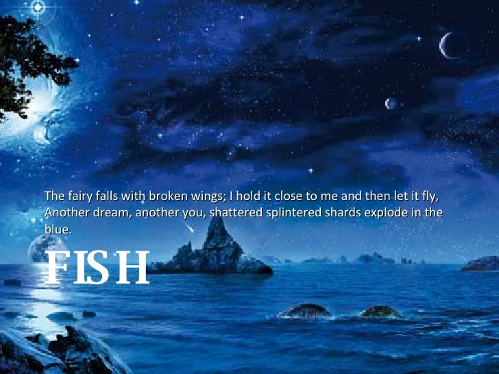 FISH <ul><li>The fairy falls with broken wings; I hold it close to me and then let it fly, Another dream, another you, sha...