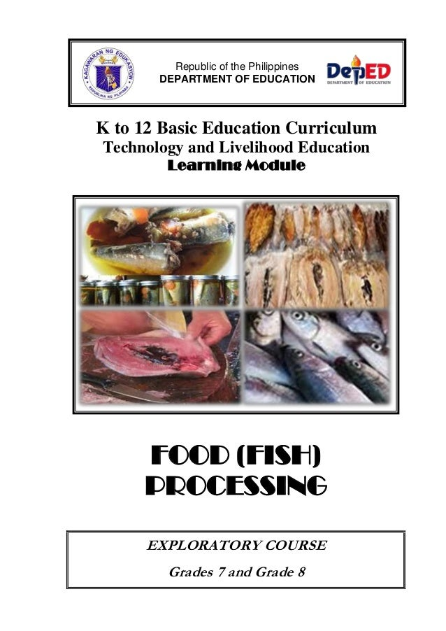 Fish Processing Learning Module on home economics worksheets