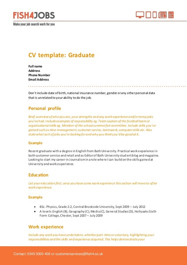 Fish4jobs CV Template for Graduates – Name Address and Phone Number Template