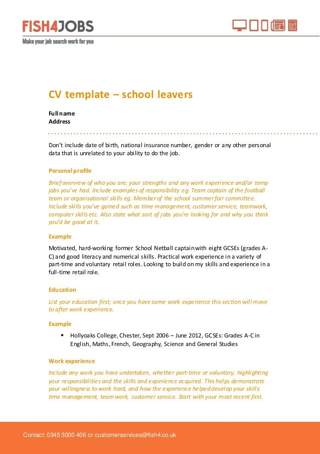Cv Template School Leaver Maggilocustdesignco - Sample resume for high school leavers