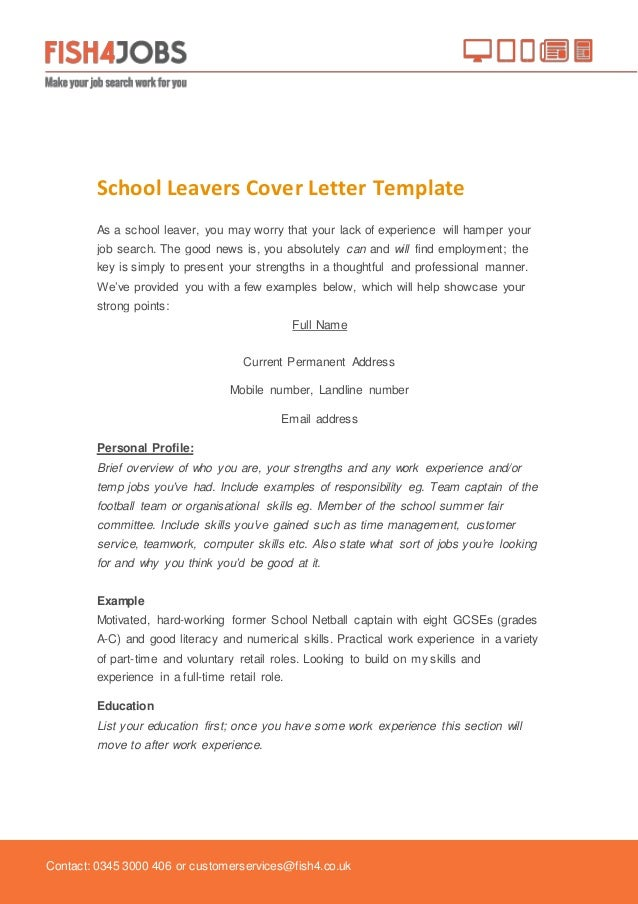 Fish4Jobs School Leavers Cover Template