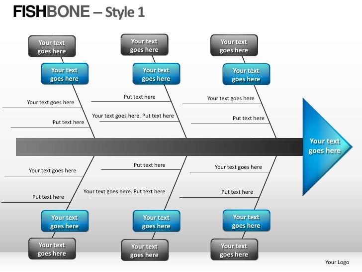 FISHBONE – Style 1     Your text                             Your text                 Your text     goes here            ...