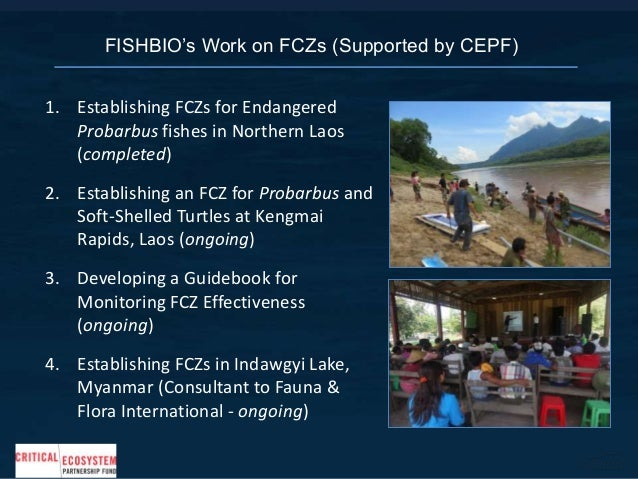 1. Establishing FCZs for Endangered Probarbus fishes in Northern Laos (completed) 2. Establishing an FCZ for Probarbus and...