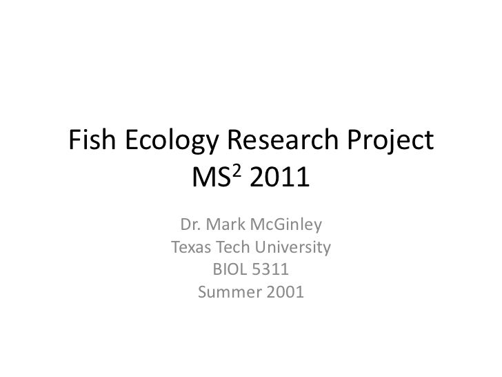 Fish Ecology Research ProjectMS2 2011<br />Dr. Mark McGinley<br />Texas Tech University<br />BIOL 5311<br />Summer 2001<br />