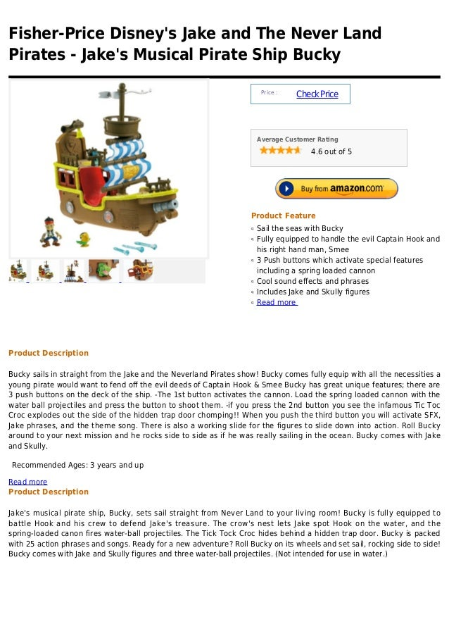 Fisher-Price Disneys Jake and The Never LandPirates - Jakes Musical Pirate Ship Bucky                                     ...