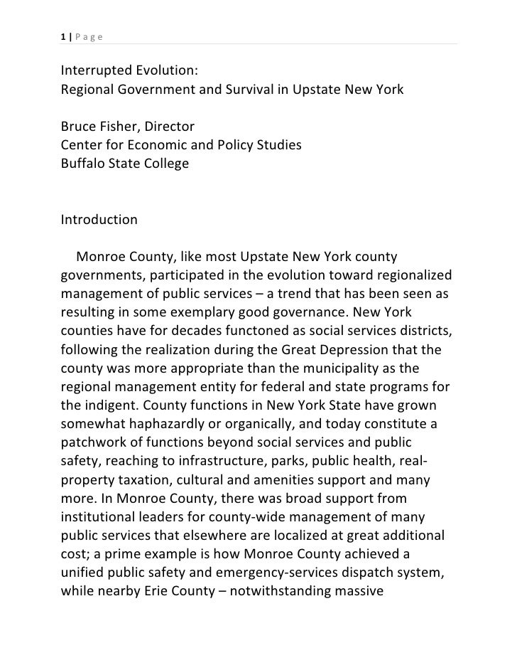 1 | P a g e      Interrupted Evolution:  Regional Government and Survival in Upstate New York     Bruce Fisher, Director  ...