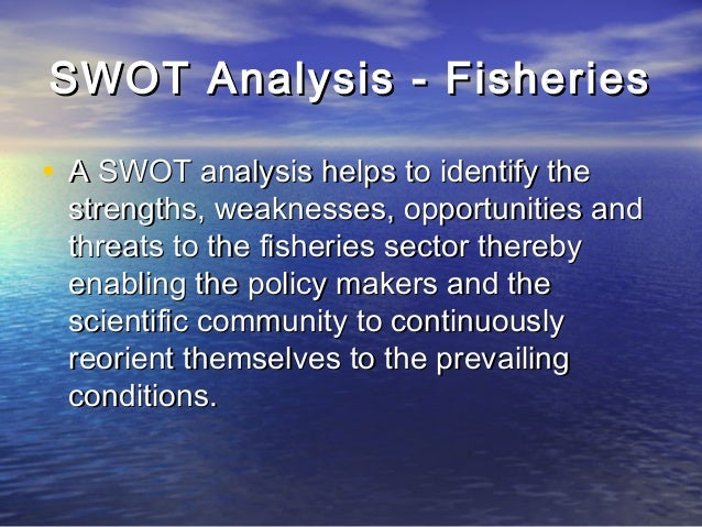 swot analysis of fishing industry Furthermore also gave a background to the fisheries sector  the impacts of internal and external environments that were identified through a swot analysis.
