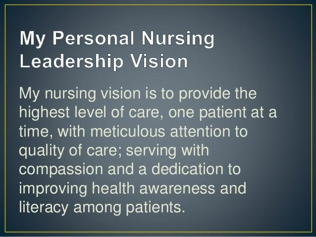 personal vision statement for nursing leadership