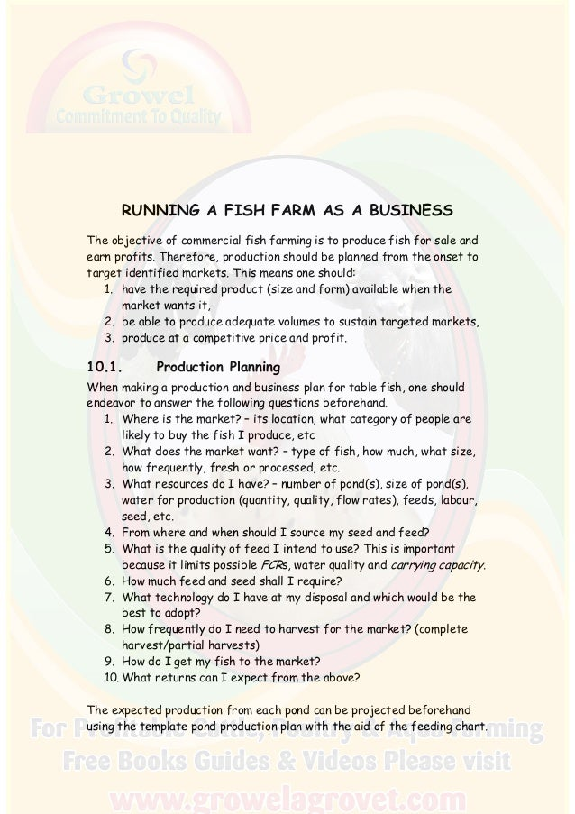 catfish farm business plan executive summary