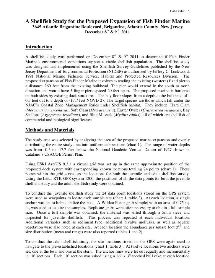 Fish finder marine shellfish study for Brigantine fishing report
