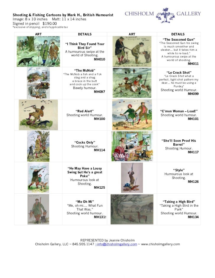 Shooting & Fishing Cartoons by Mark H., British HumouristImage: 8 x 10 inches Matt: 11 x 14 inchesSigned in pencil $190.00...