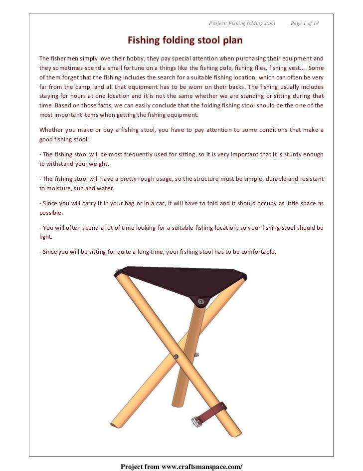 Project: Fishing folding stool   Page 1 of 14                                  Fishing folding stool planThe fishermen sim...
