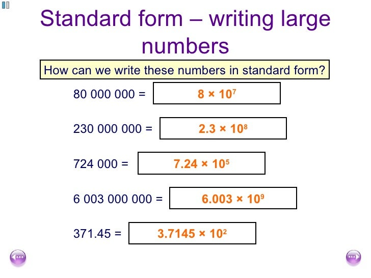how do you write numbers in standard form