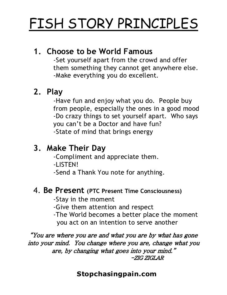 FISH STORY PRINCIPLES 1. Choose to be World Famous        -Set yourself apart from the crowd and offer        them somethi...