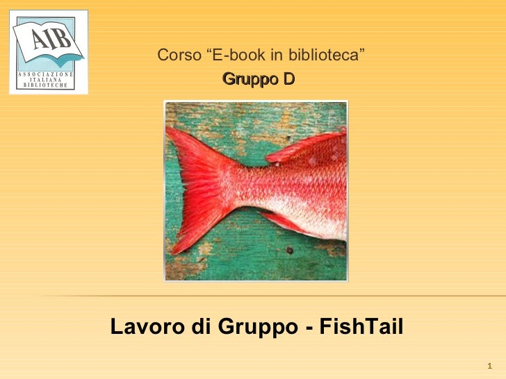 """Corso """"E-book in biblioteca"""" Gruppo D  Lavoro di Gruppo - FishTail"""