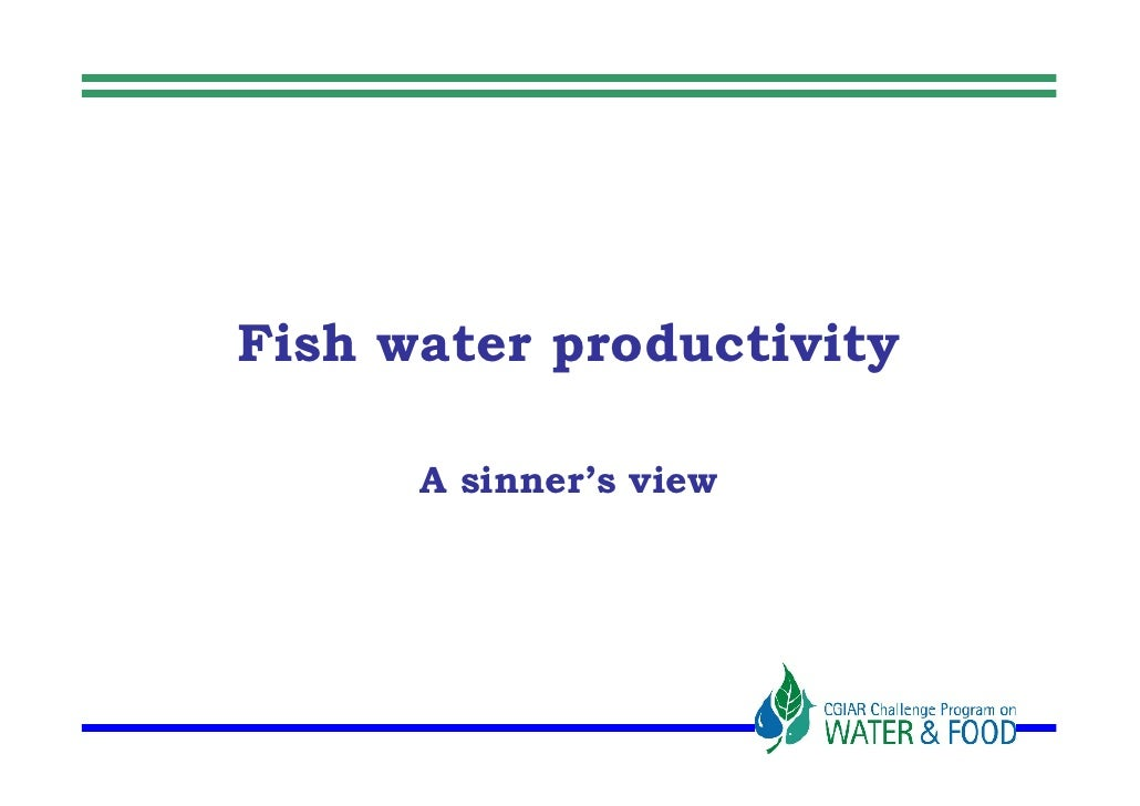 Fish water productivity        A sinner's view