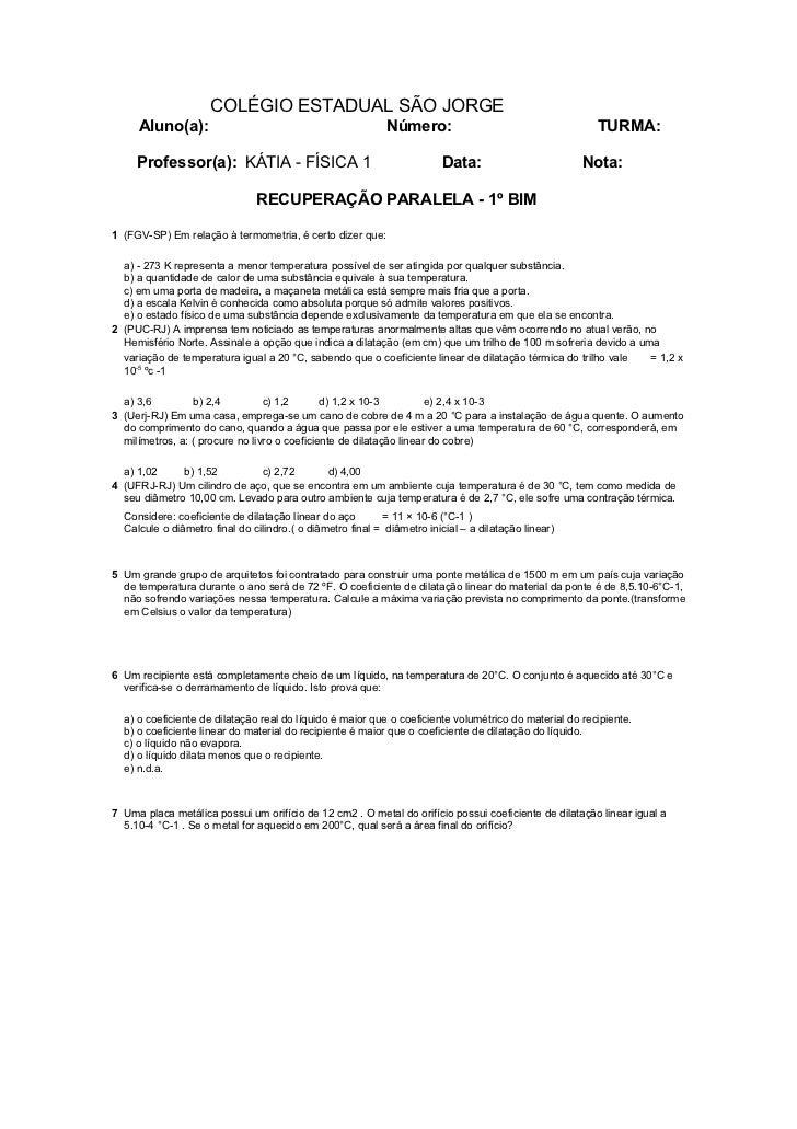 COLÉGIO ESTADUAL SÃO JORGE     Aluno(a):                                              Número:                             ...