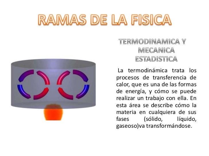 TERMODINAMICA Y MECANICA ESTADISTICA<br />La termodinámica trata los procesos de transferencia de calor, que es una de las...