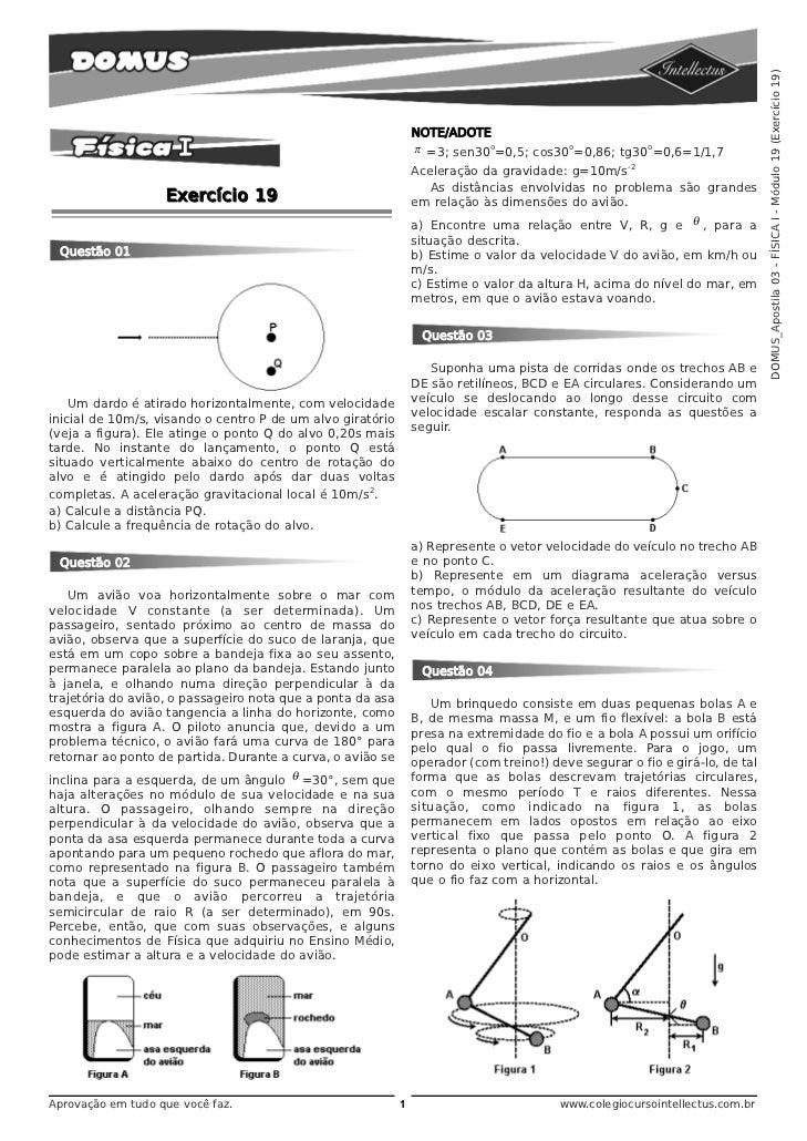 DOMUS_Apostila 03 - FÍSICA I - Módulo 19 (Exercício 19)                                                                NOT...